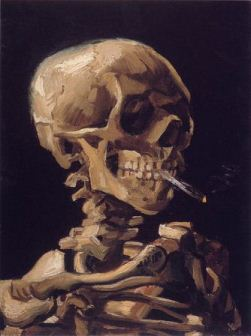 Skull of a Skeleton with Burning Cigarette Van Gogh